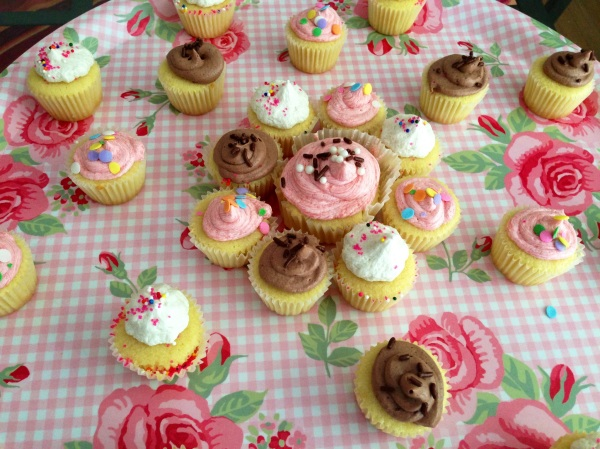 Classic Vanilla cupcakes with classic vanilla buttercream frosting