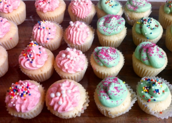 Vanilla Mini Cupcakes With Vanilla Buttercream Frosting & Chocolate Cake With Vanilla Buttercream Frosting