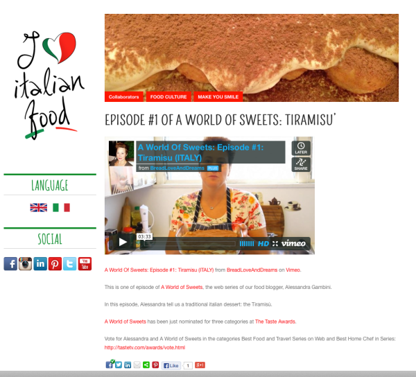 A World Of Sweets - Episode #1 Tiramisu' (Italy) Is Now Featured On I Love Italian Food.