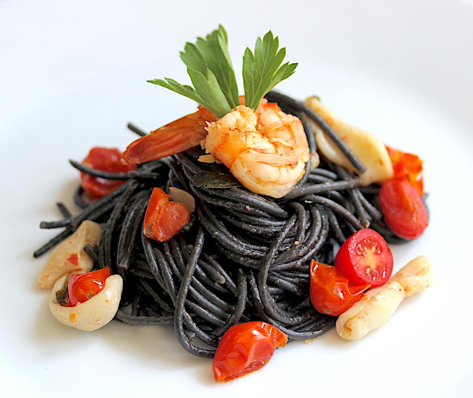 Squid Ink Spaghetti With Seafood Ragù